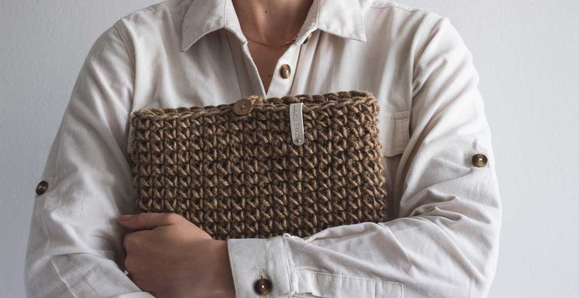 A photograph of a jute laptop bag, one of the ethical products sold by Choose Conscious