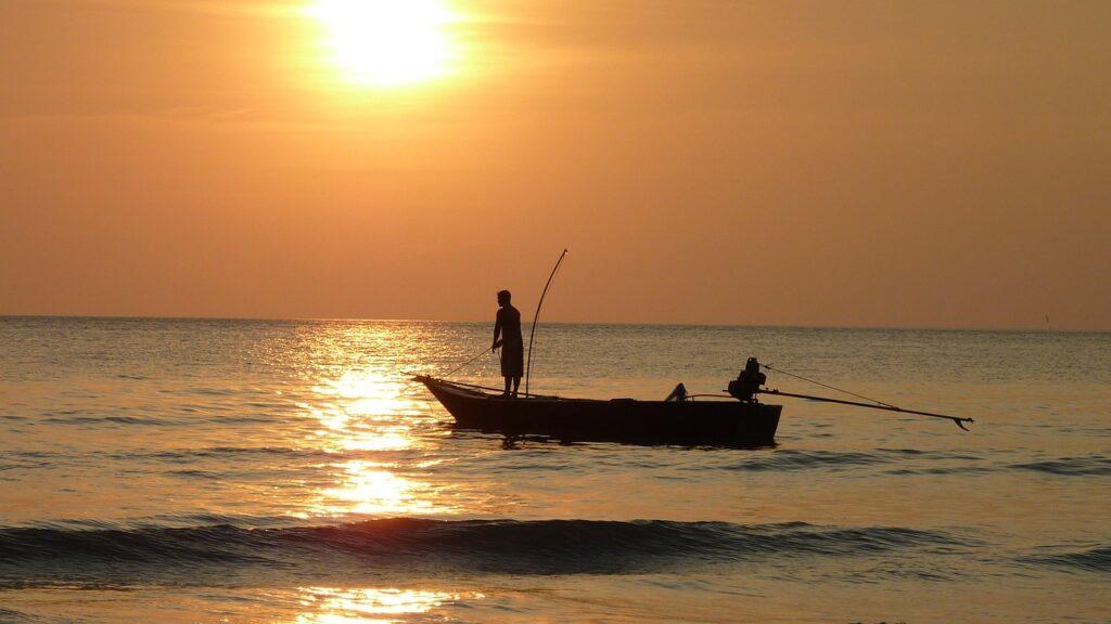 fishing, sea, sunset